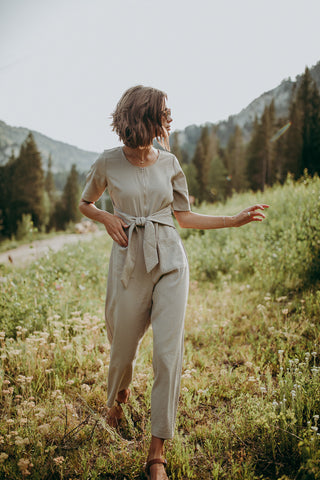 The Nutley Ribbed Front Tie Jumpsuit in Charcoal