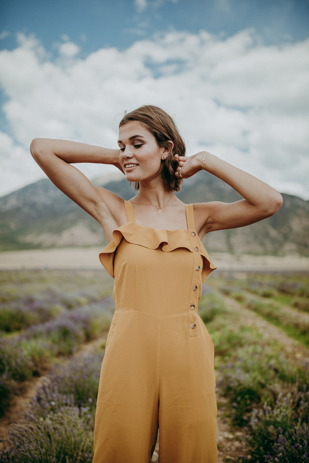The Mona Ruffle Jumpsuit in Honey