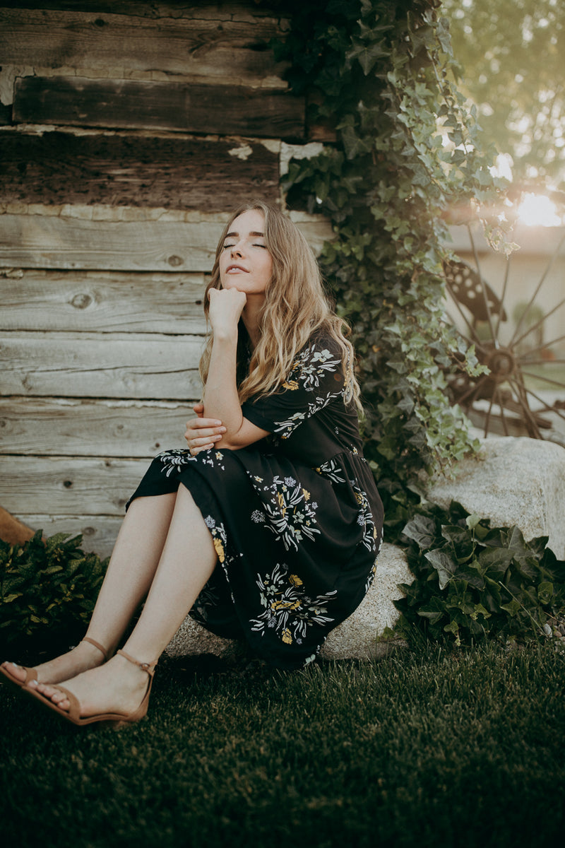 Piper & Scoot: The Swenson Floral Dress, lifestyle shoot; side view