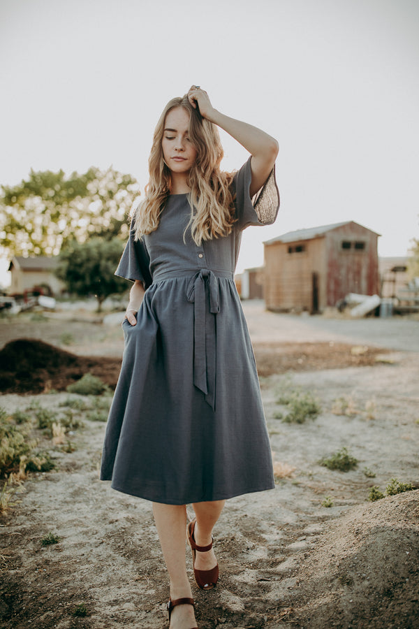 The Stirling Belted Dress in Charcoal