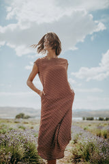 Piper & Scoot: The Central Patterned Shift Dress in Rust