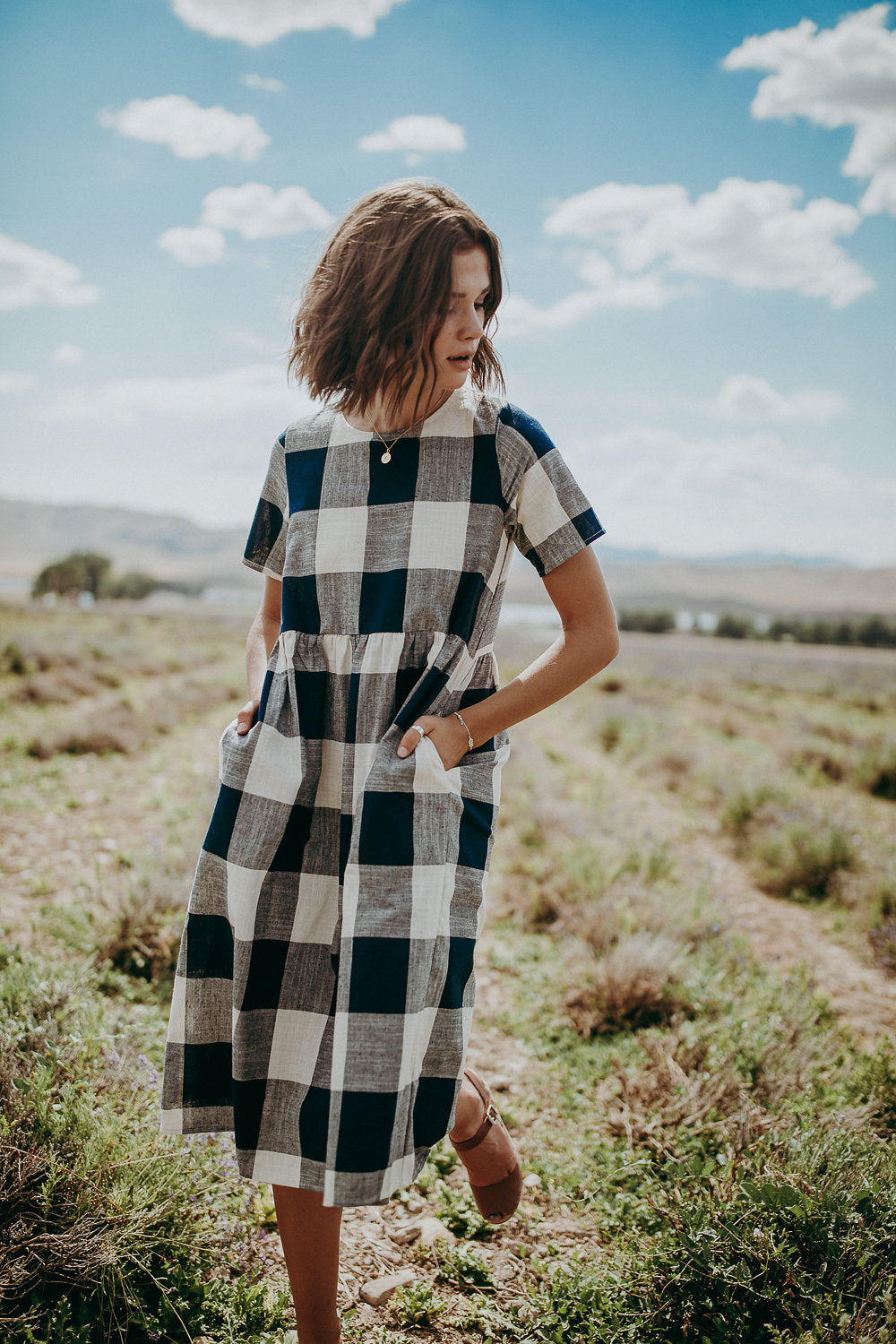 df399f2a8530c The Lucy Check Midi Dress in Navy – Piper & Scoot