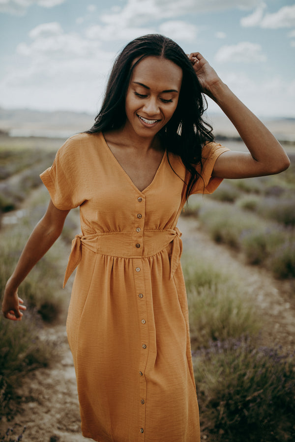 The McCall Button Dress in Camel