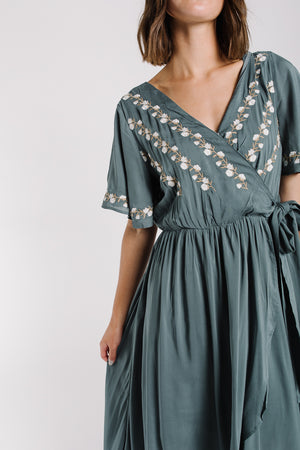 The Parklan Embroidered Wrap Dress in Jade