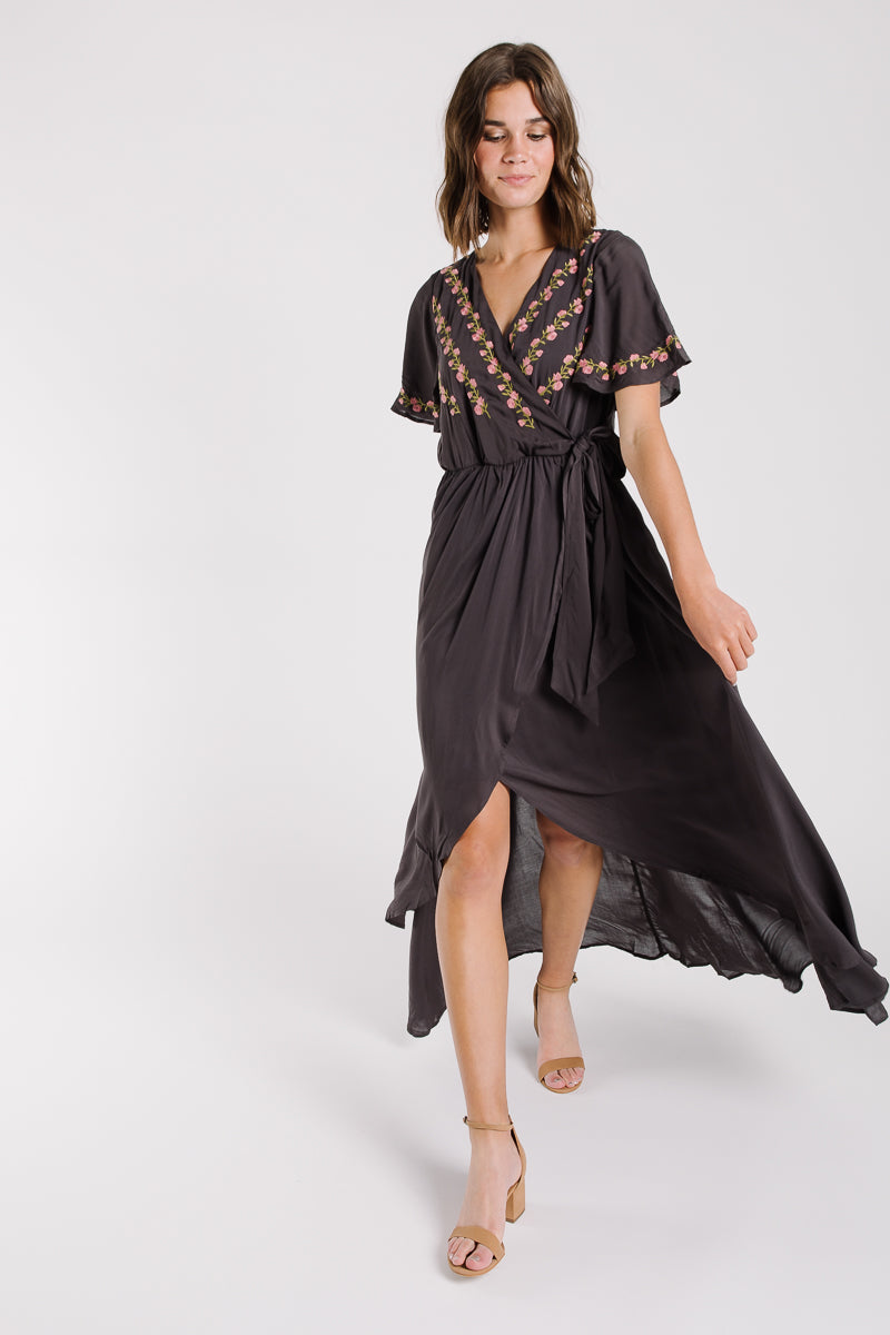 The Parklan Embroidered Wrap Dress in Charcoal
