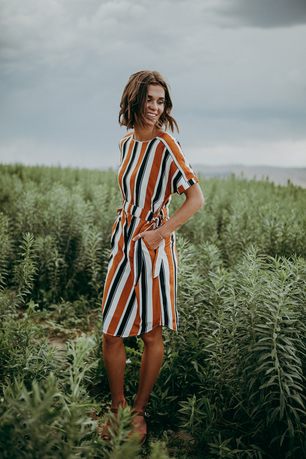 The Troy Striped Side Tie Dress in Camel + Black
