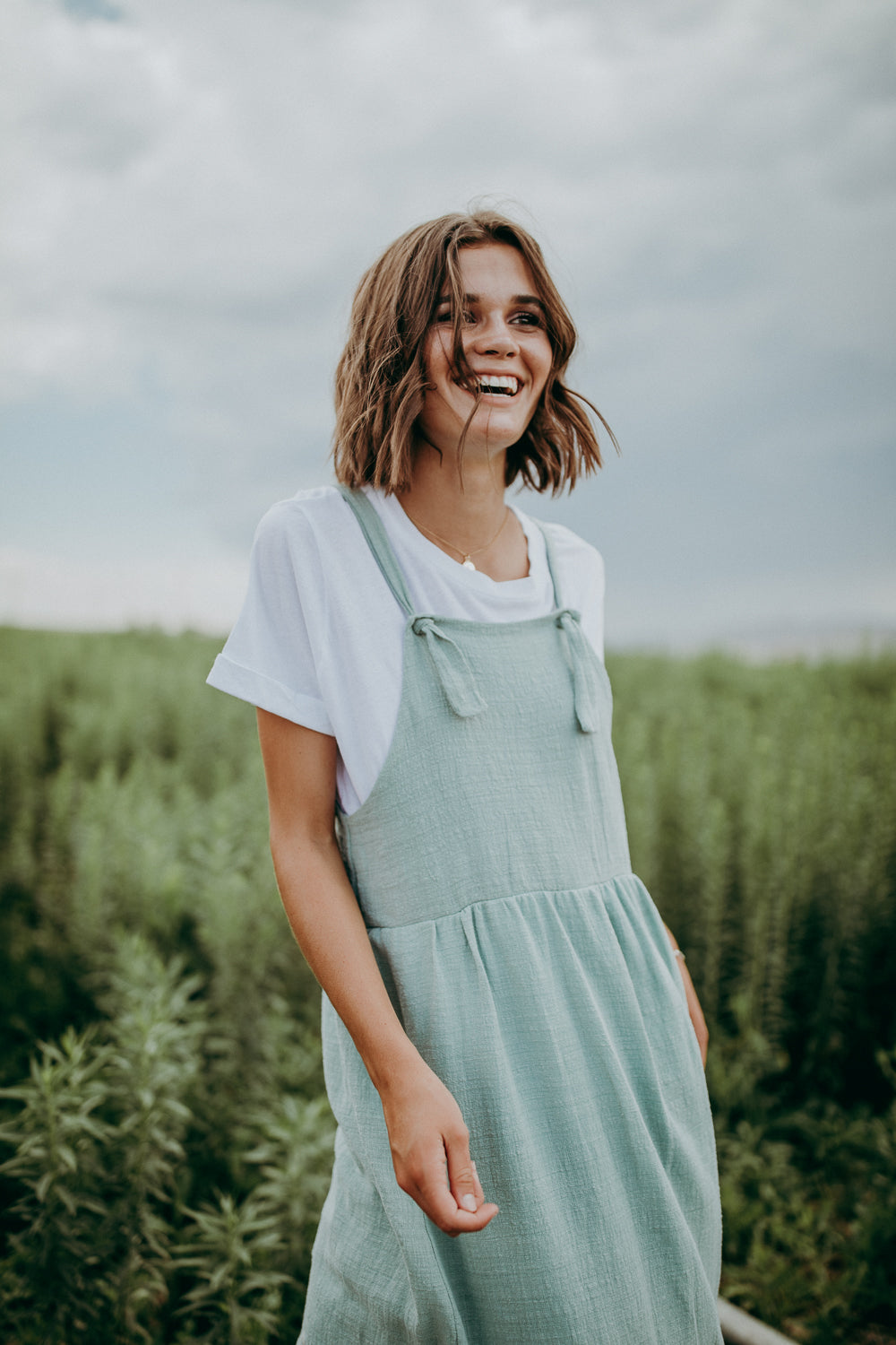 The Teton Embroidered Jumper Midi Dress in Sage