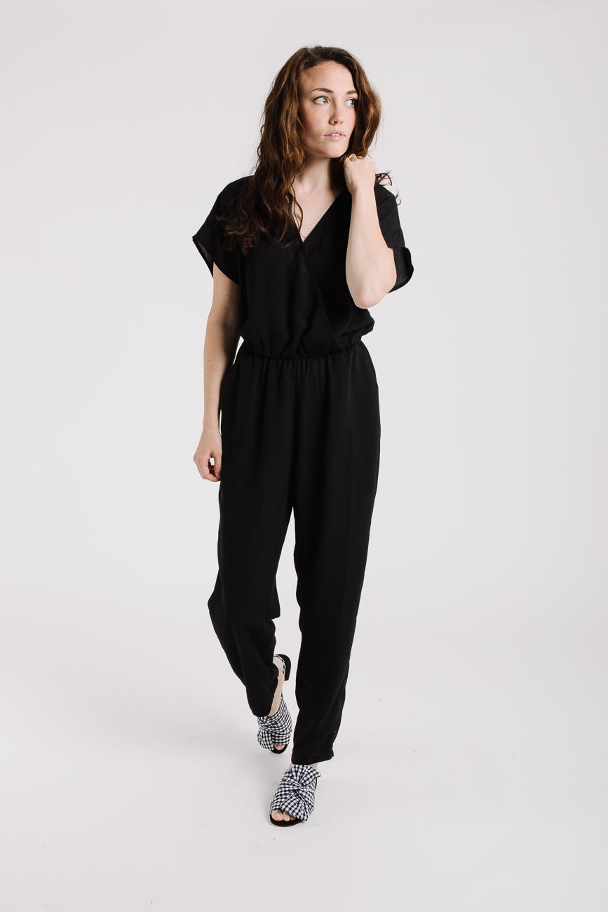 The Jasper Wrap Jumpsuit in Black