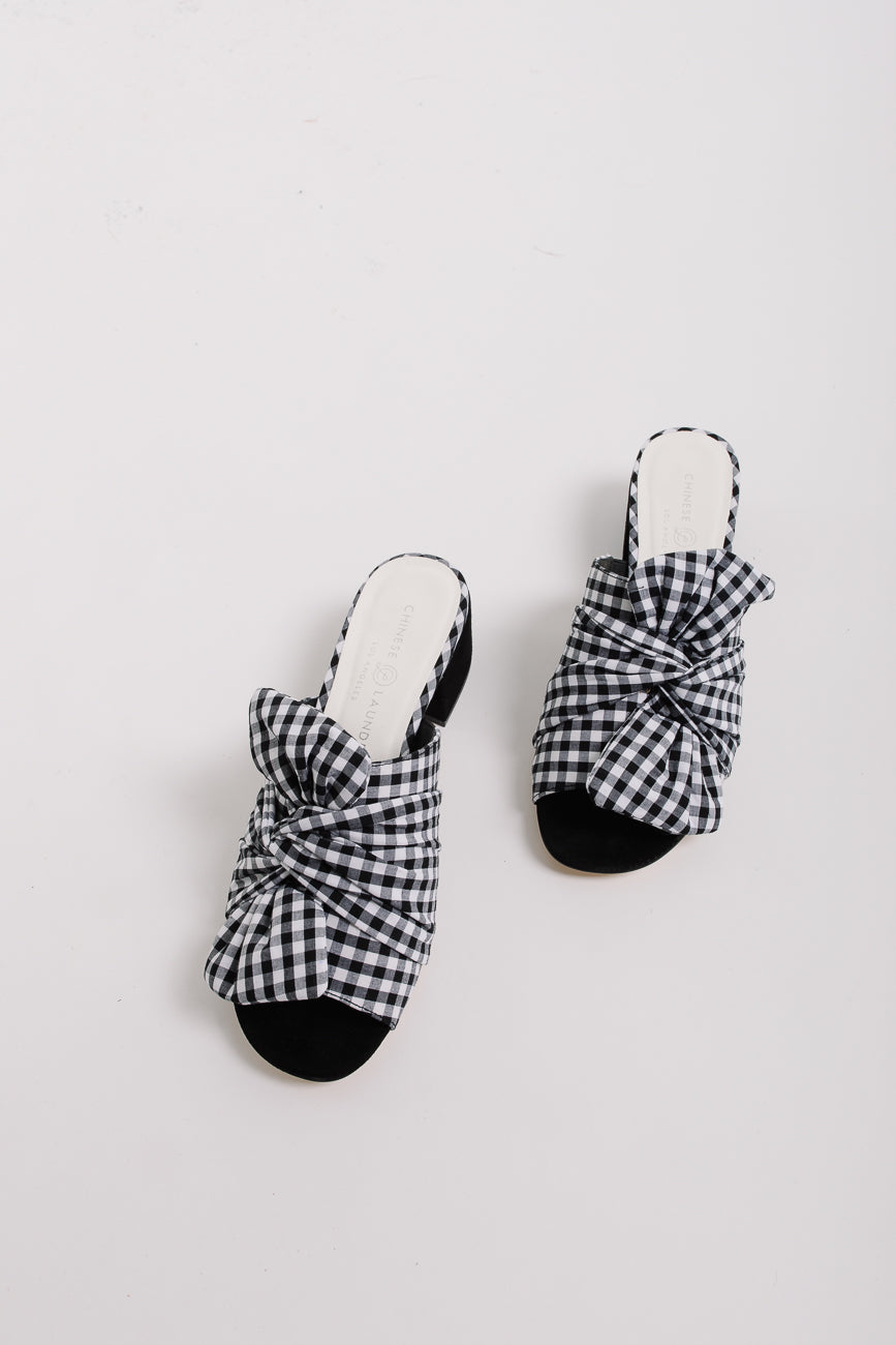 The Marlowe Slide Sandal in Black + White Gingham