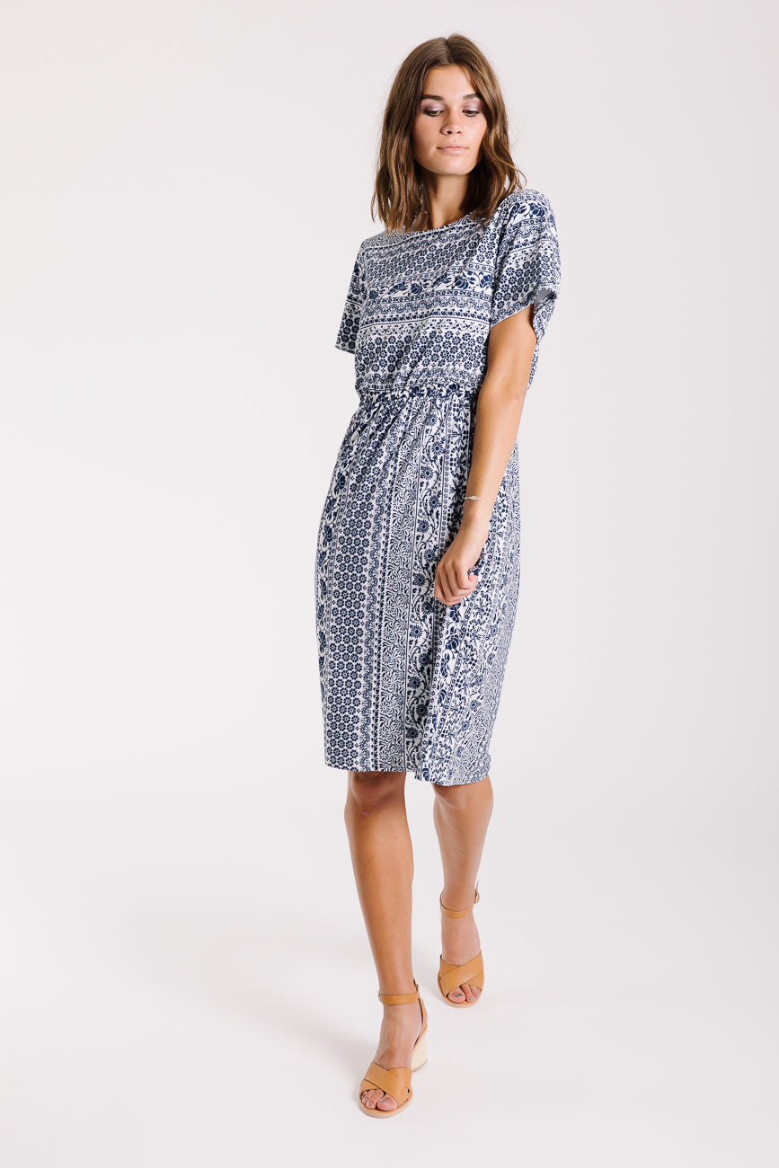 Piper & Scoot: The Chantal Pattern Dress in Blue + White