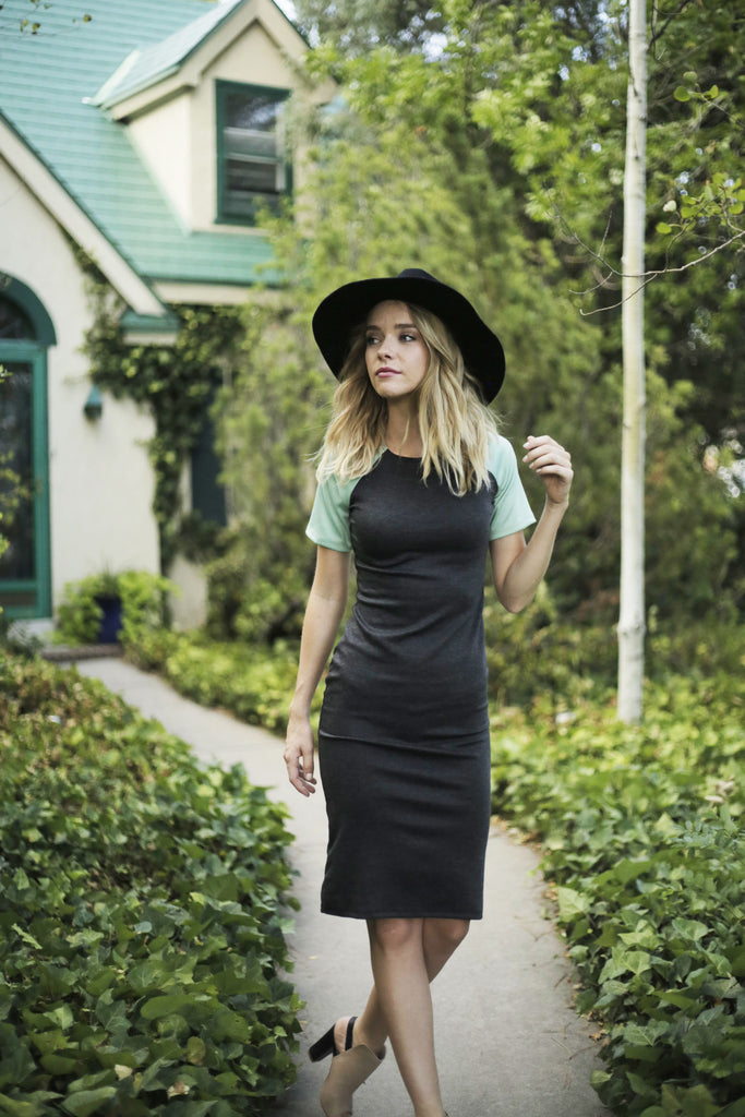 The Charlie Dress in Charcoal + Mint