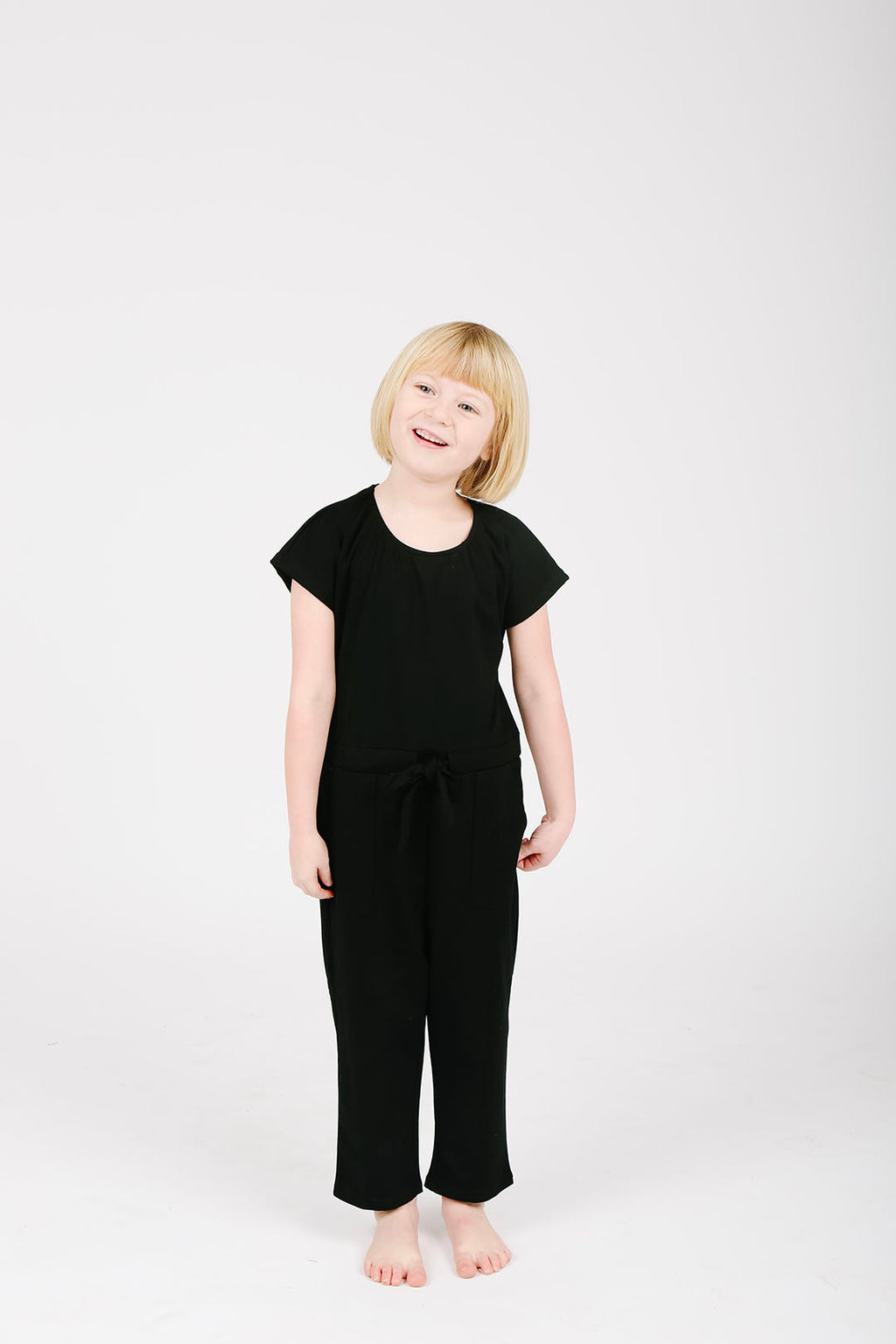 Pips: The Bianca Kids Cinch Jumpsuit in Black