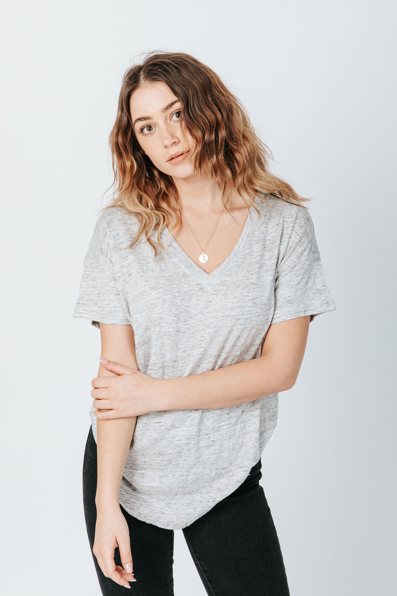 The Distancer Tee in Grey Marble, studio shoot; front view