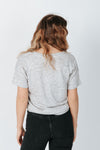 The Distancer Tee in Grey Marble, studio shoot; back view