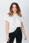 The Linford Polkadot Tee in White, studio shoot; front view