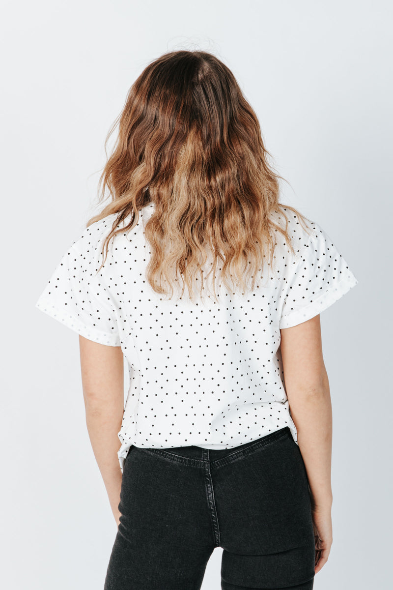 The Linford Polkadot Tee in White, studio shoot; back view