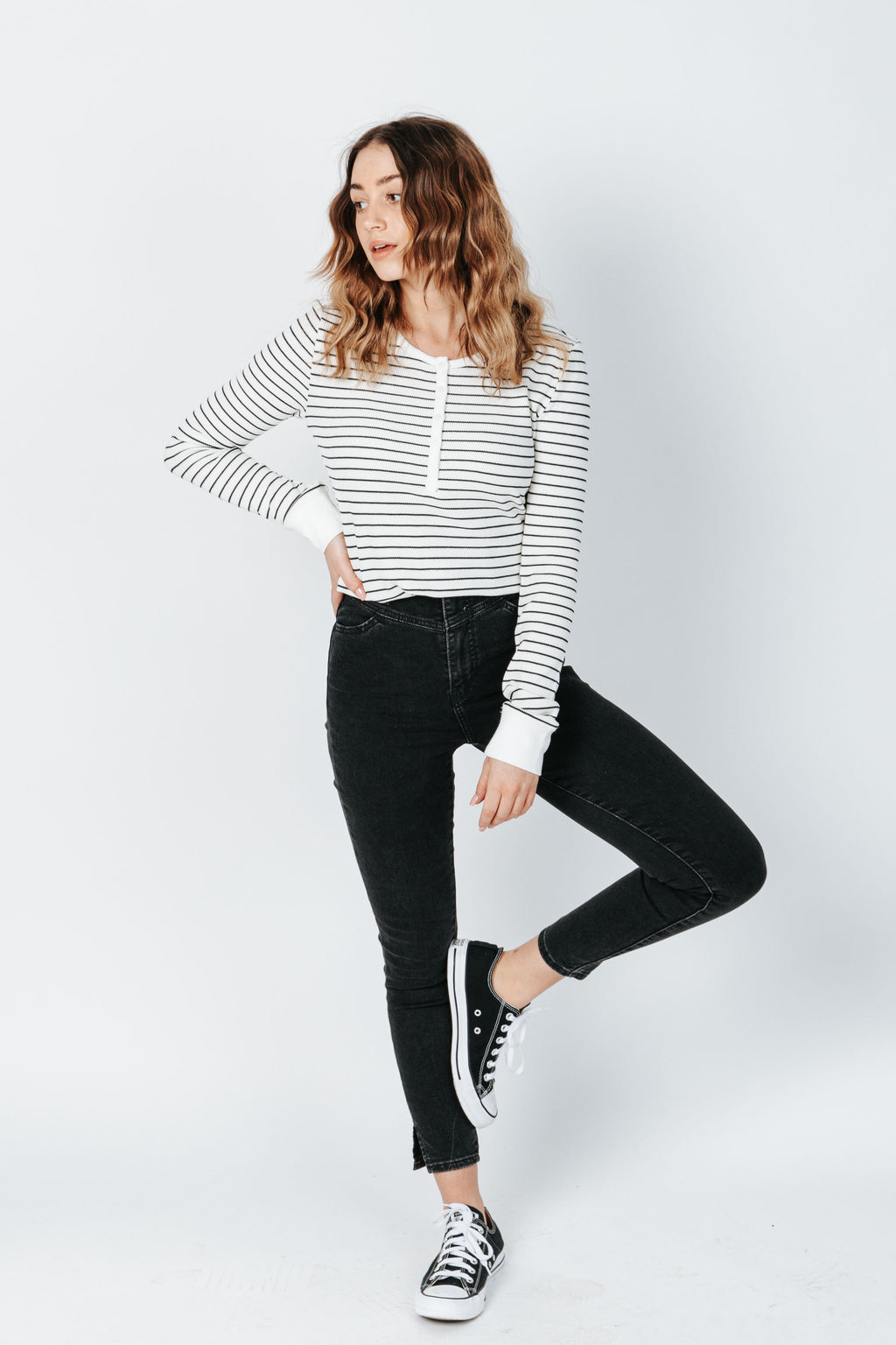 The Maeve Long Sleeve Tee in Black Stripe, studio shoot; front view