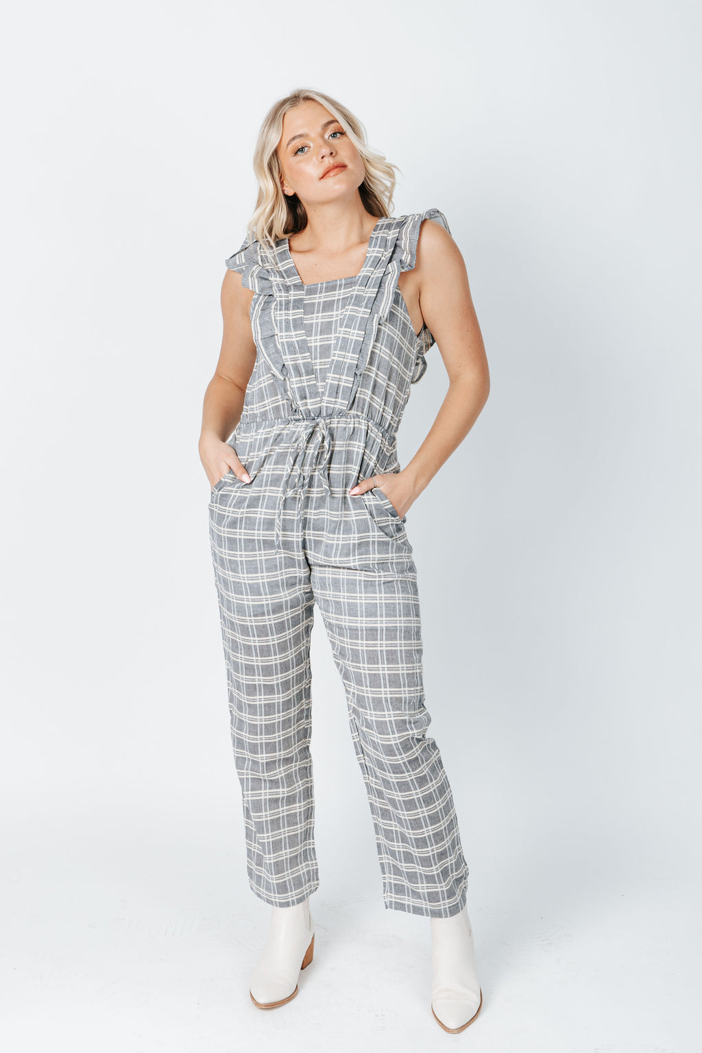 The Boston Plaid Jumpsuit in Blue, studio shoot; front view