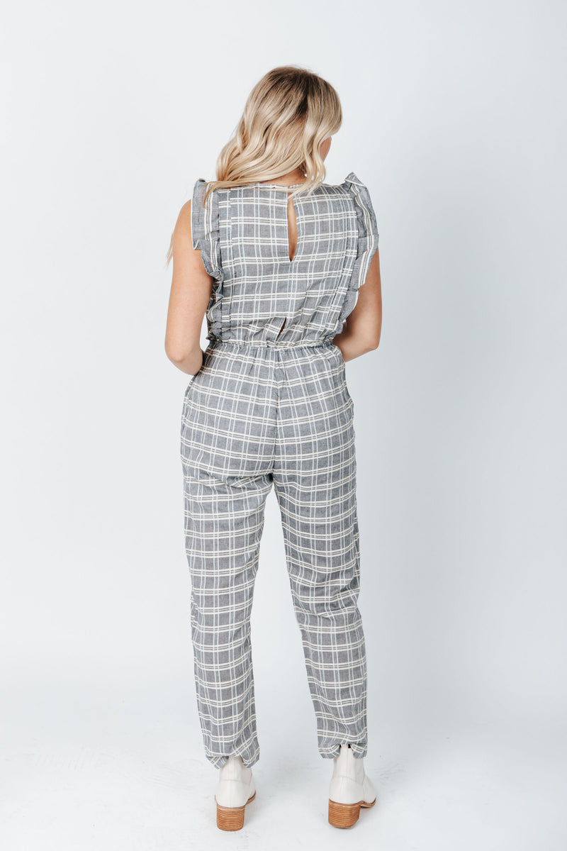 The Boston Plaid Jumpsuit in Blue, studio shoot; back view