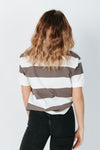 The Brooke Striped Tee in Charcoal and White, studio shoot; back view