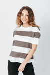 The Brooke Striped Tee in Charcoal and White, studio shoot; front view