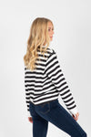 Levi's: Parker Long Sleeve Tee Shirt in Caviar Stripe Black, studio shoot; side view