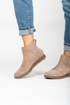 Sorel: Harlow Chelsea Boot in Ash Brown, studio shoot; side view