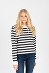 The Marysia Striped Tee in Grey Multi