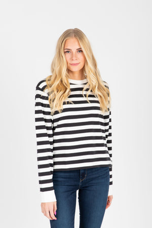 Levi's: Parker Long Sleeve Tee Shirt in Caviar Stripe Black, studio shoot; front view