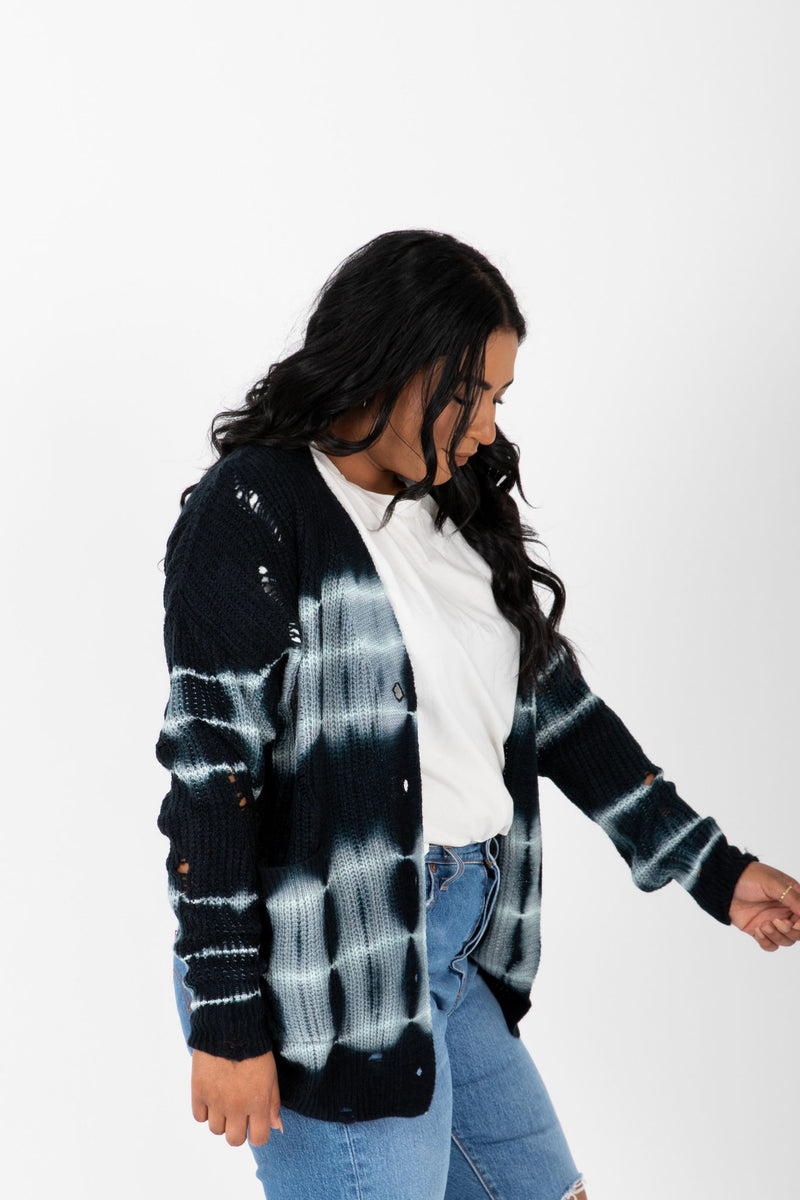 The Terrell Watercolor Cardigan in Navy, studio shoot; side view