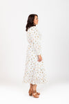 The Alivia Smocked Floral Dot Dress in White