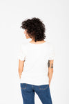 The Mason Floral Lace Sleeve Blouse in White, studio shoot; back view