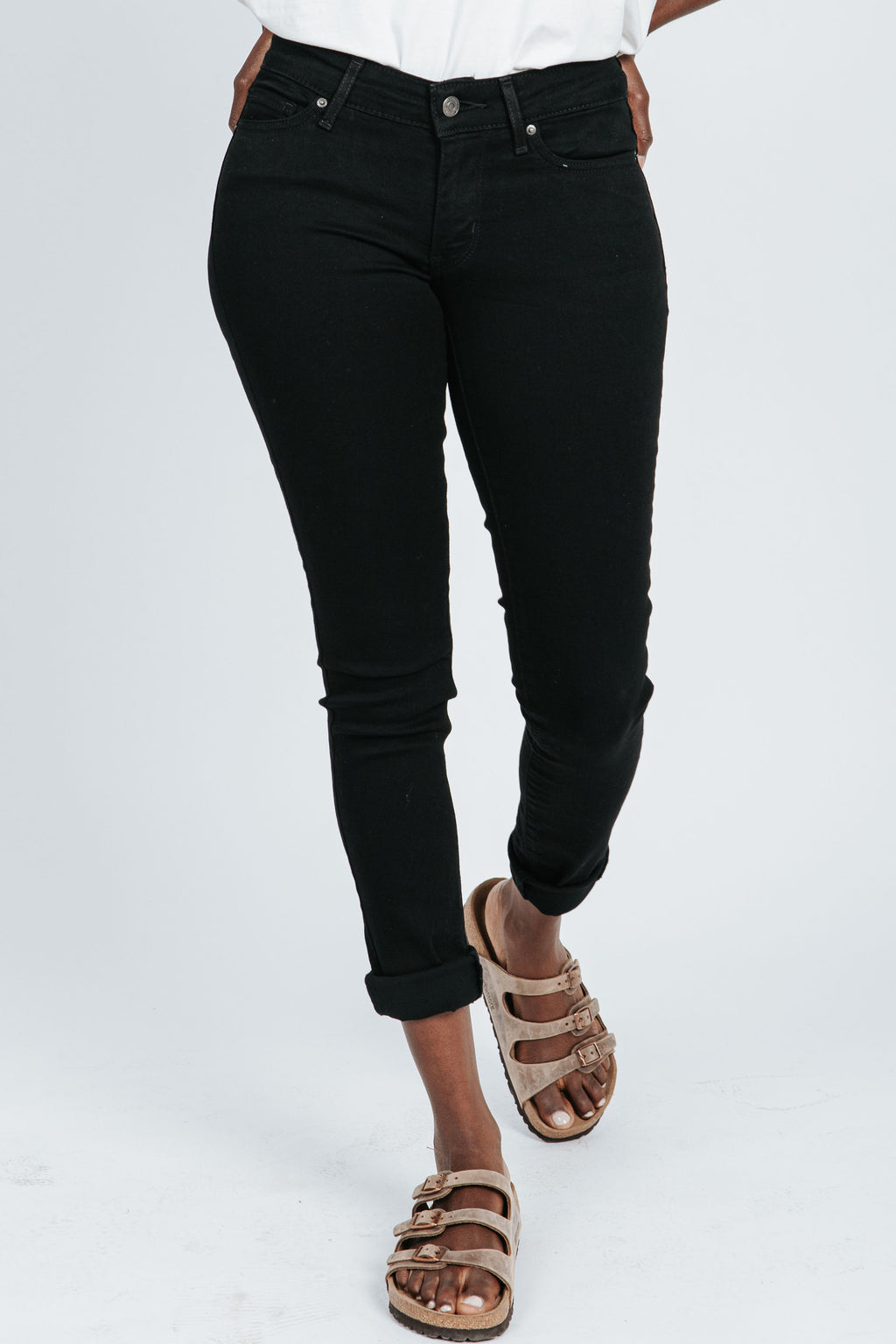 Levi's: 711 Skinny Jeans in Soft Black, studio shoot; front view