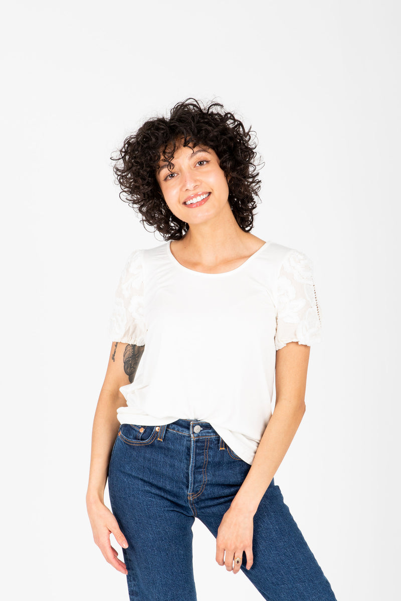 The Mason Floral Lace Sleeve Blouse in White, studio shoot; front view
