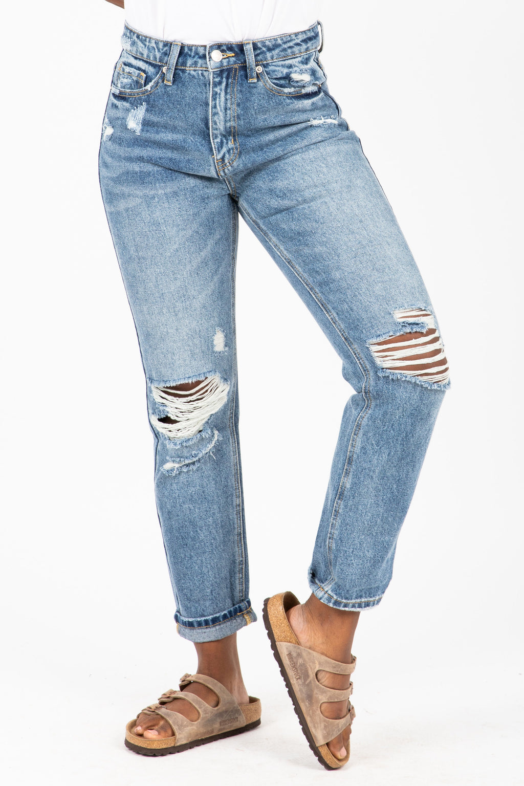 The Ross High Rise Destructed Jeans in Medium Wash