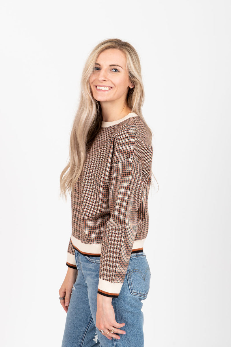 The Birmingham Checkered Sweater in Rust