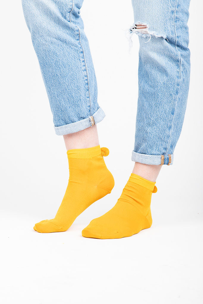 Metallic Pom Pom Short Crew Sock in Mustard