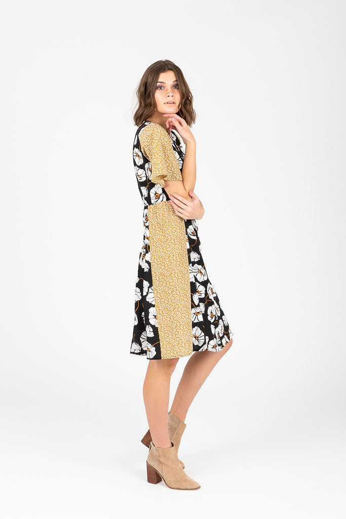 Piper & Scoot: The Hilton Mixed Floral Dress in Black