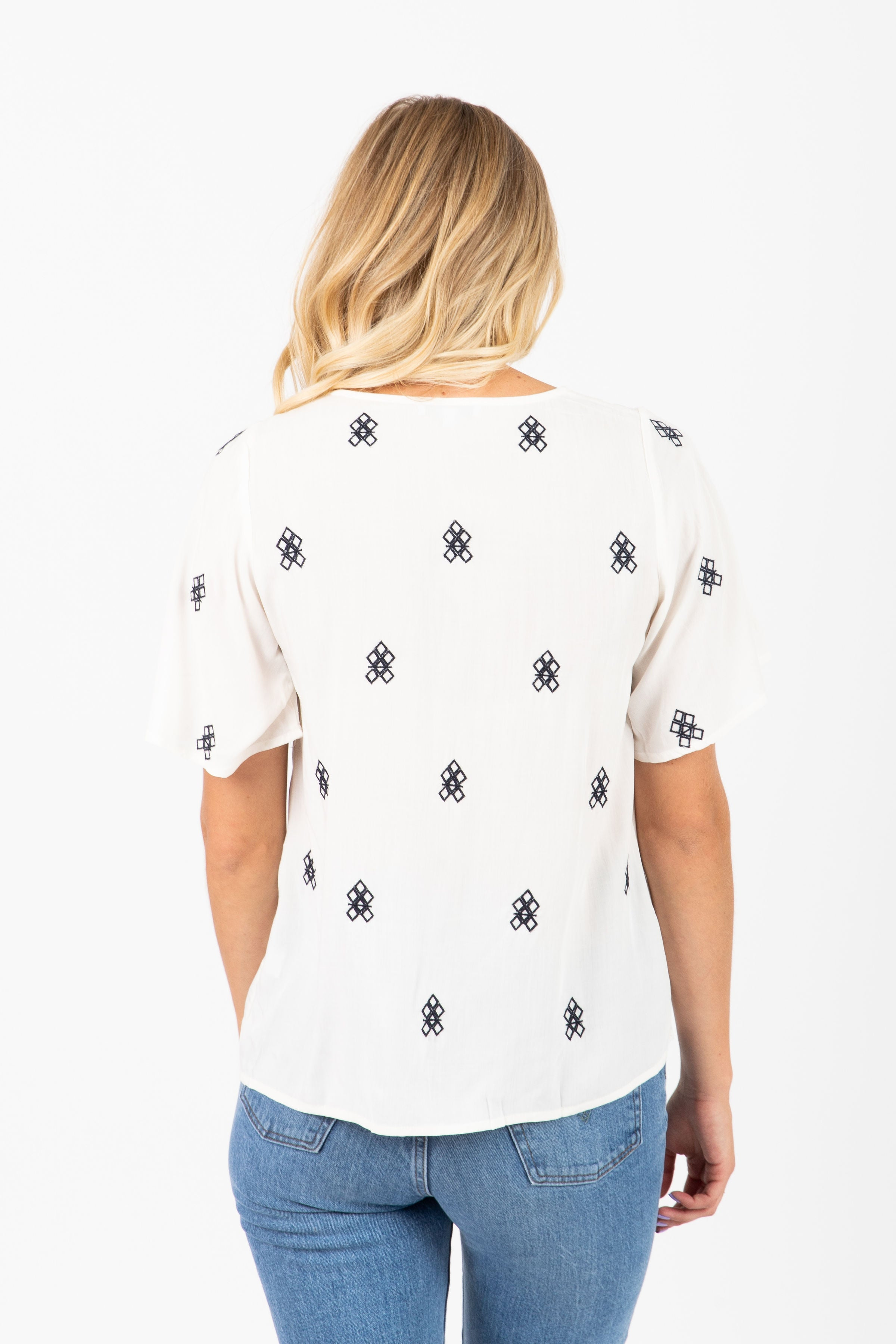 The Willis Embroidered Detail Blouse in White