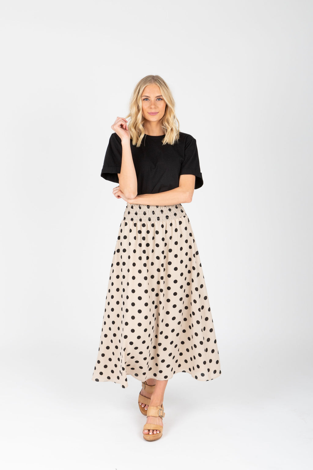 The Chaya Dot Maxi Skirt in Taupe, studio shoot; front view