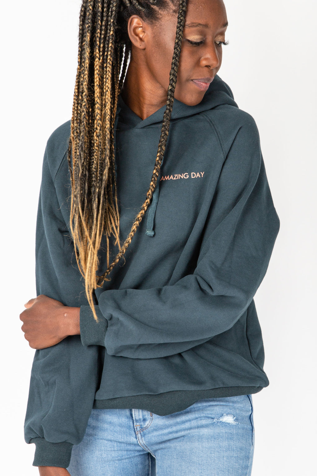 The Amazing Day Sweatshirt in Green, studio shoot; front view
