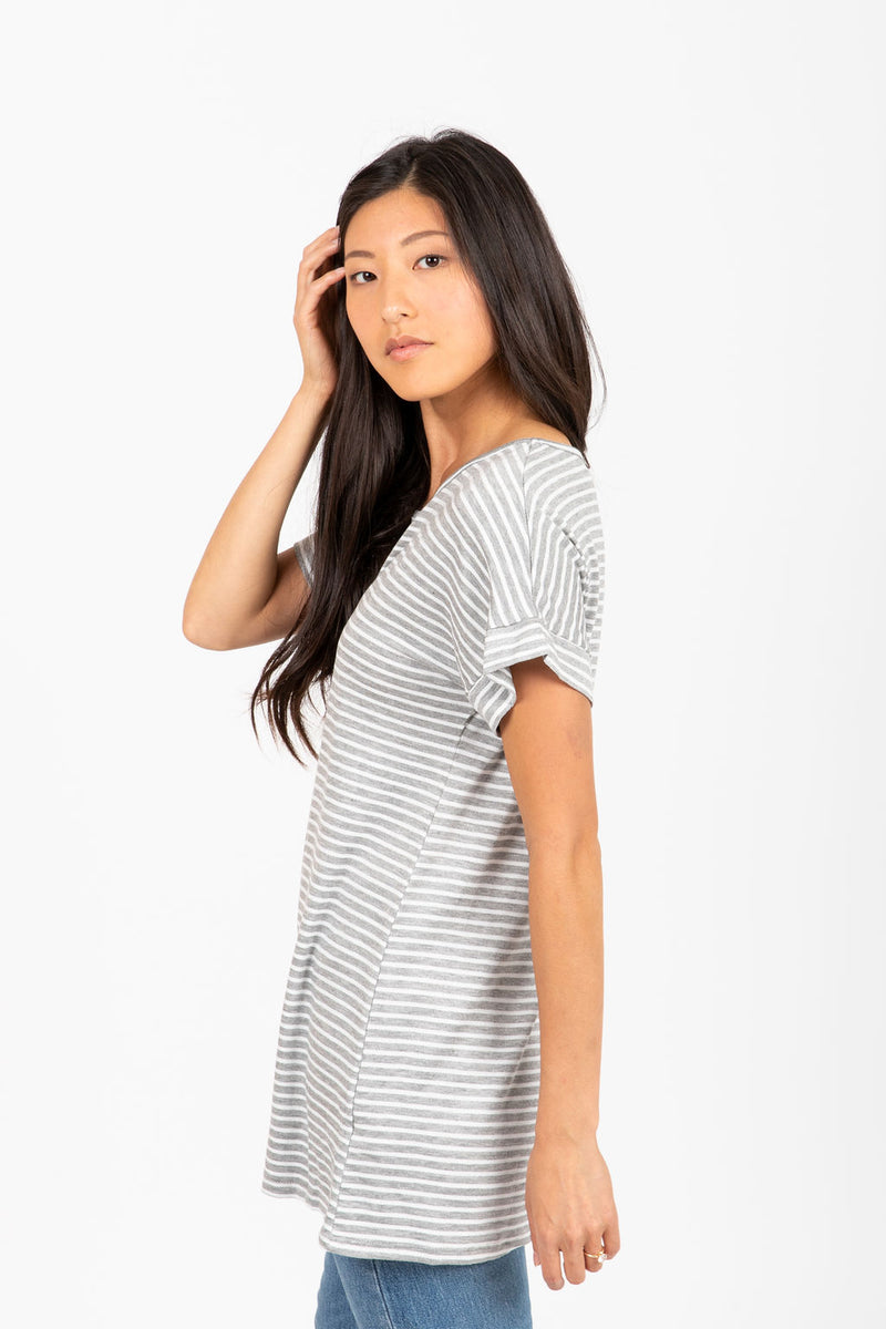 The Nimbus Striped Casual Blouse in Heather Grey