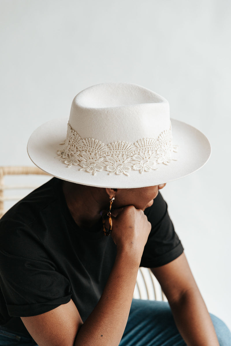 Hat No. 49: White Lace Detail Hat