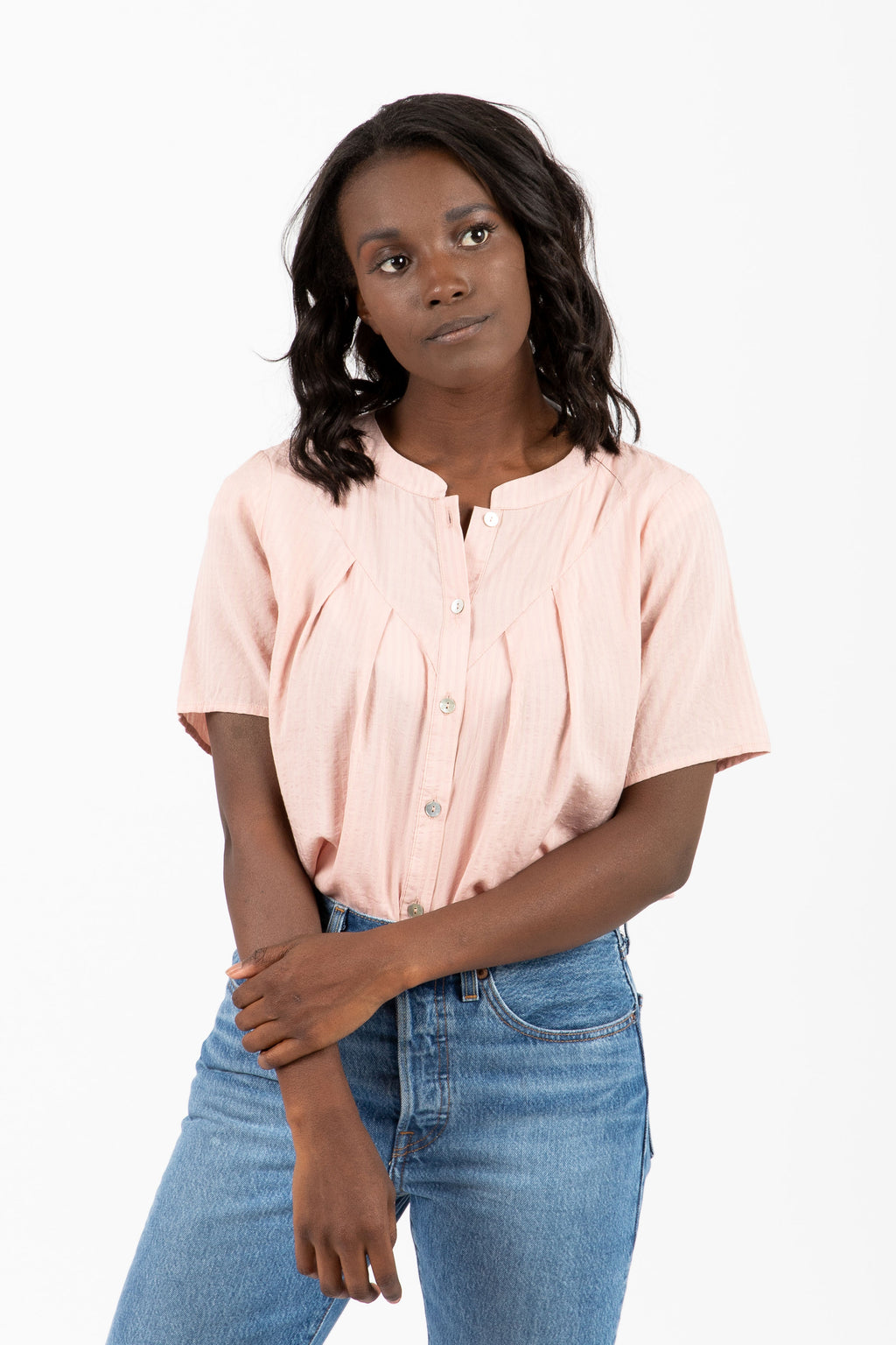 The Chapman Button Pleated Blouse in Blush