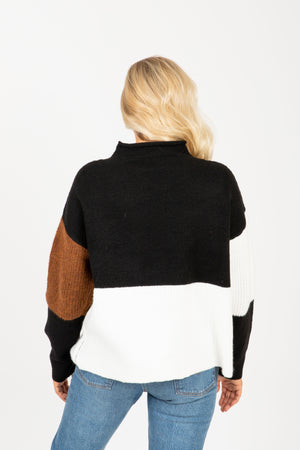 The Outline Block Mock Neck Sweater in Black, studio shoot; back view