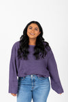 The Ryn Thick Knit Sweater in Midnight, studio shoot; front view