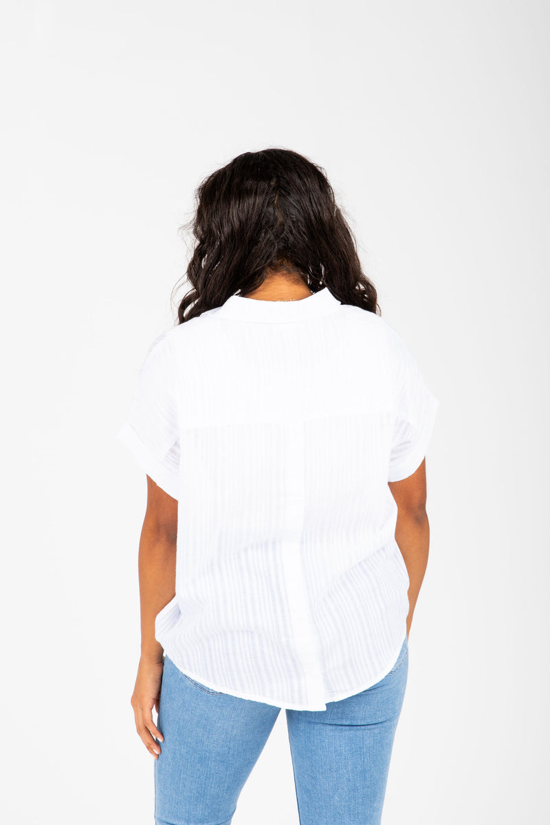 The Nico Collared Popover Blouse in White, studio shoot; back view