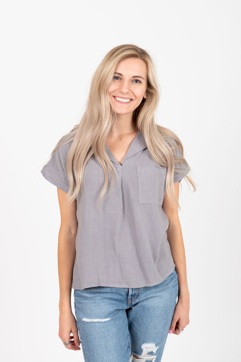 The Vince Collared Blouse in Light Grey