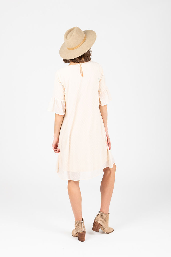 The Emily Embroidered Swiss Dot Dress in Cream