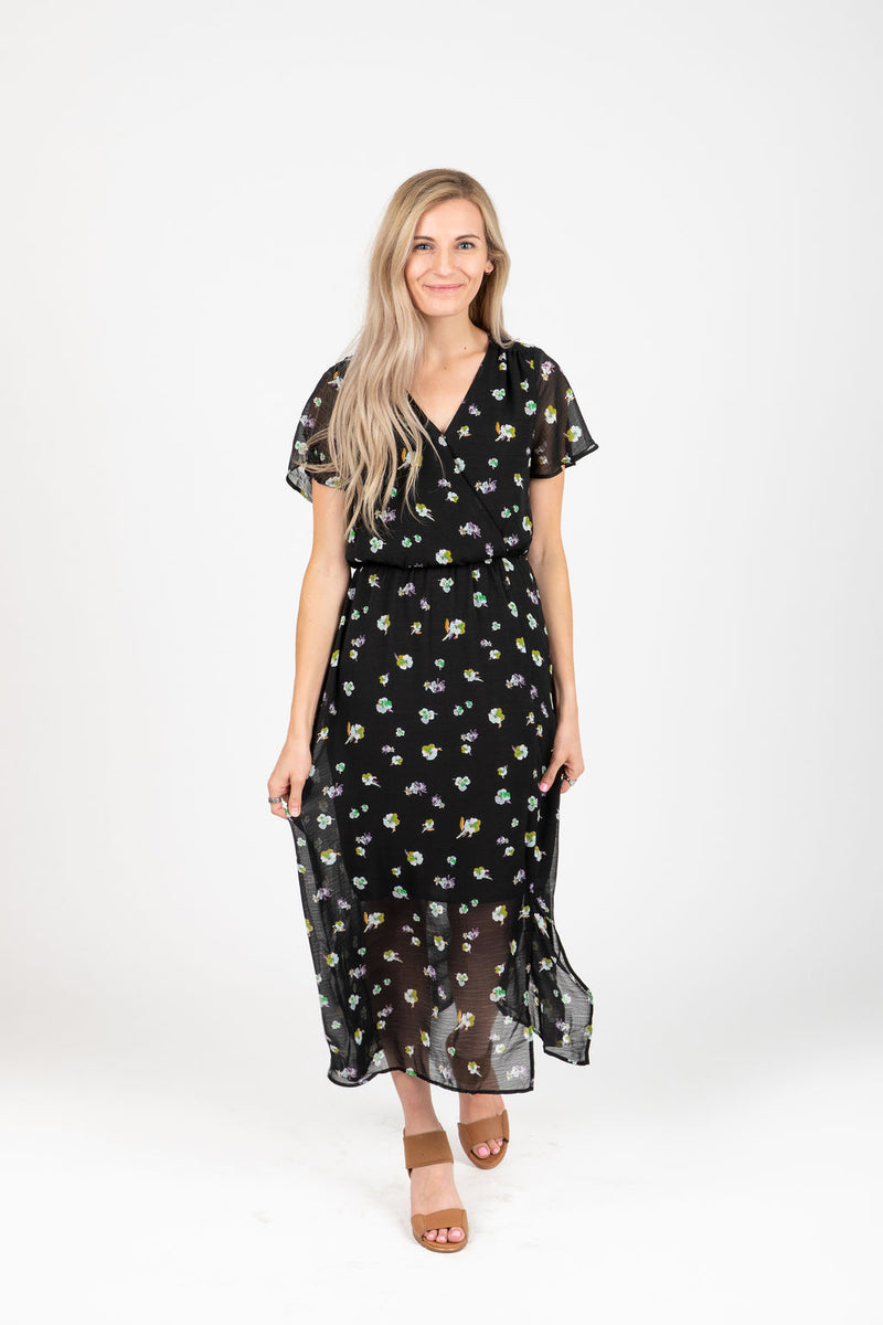 The Esquire Floral Wrap Slit Dress in Black